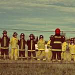 Детската пожарна команда на Пуерто Наталес. Като аптекарски шишета.